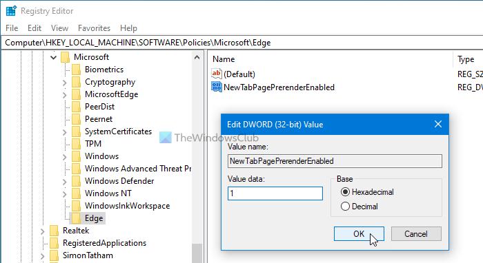 Cómo habilitar la nueva página de la pestaña de precarga en Edge usando el registro