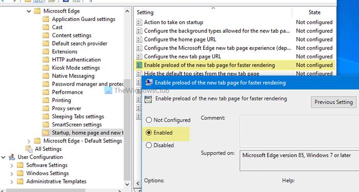 Cómo habilitar una nueva página de pestaña de precarga en Edge mediante la directiva de grupo