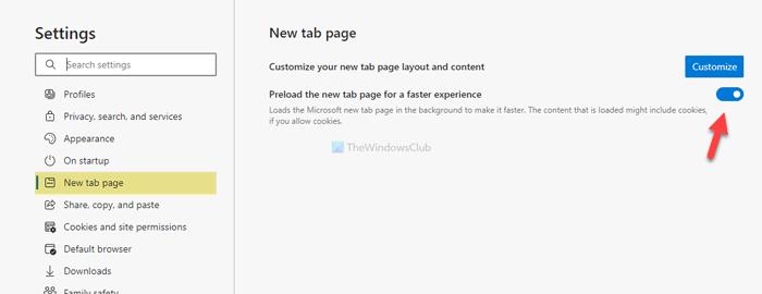 Cómo habilitar o deshabilitar la nueva página de la pestaña de precarga en Edge