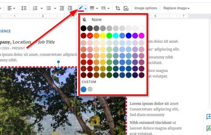 Agregar un borde en Google Docs