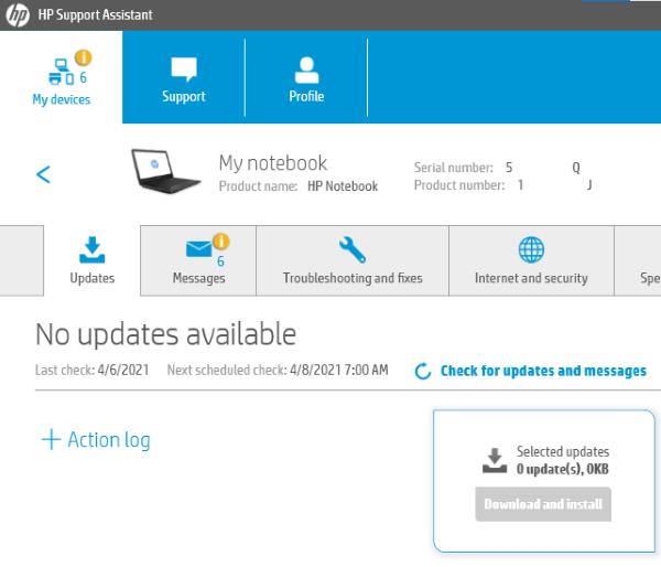 Controladores de actualización de HP Support Assistant 4