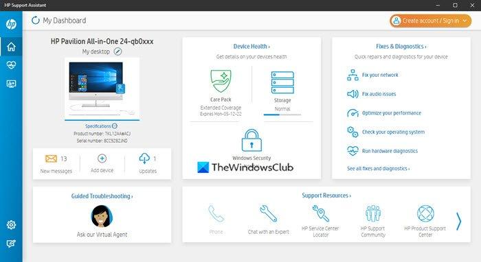 Asistente de soporte de HP para Windows 10