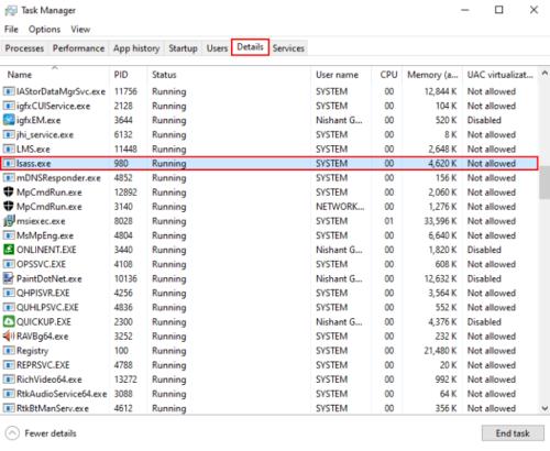 Proceso lsass.exe en Windows 10