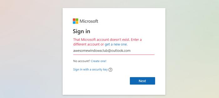 La cuenta de Microsoft no existe